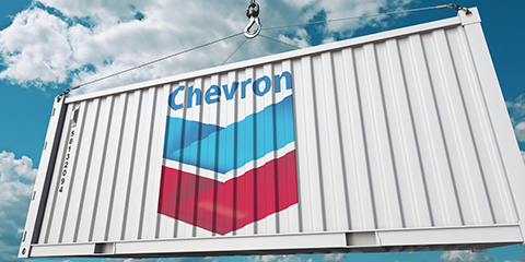 Shipping container with Chevron logo
