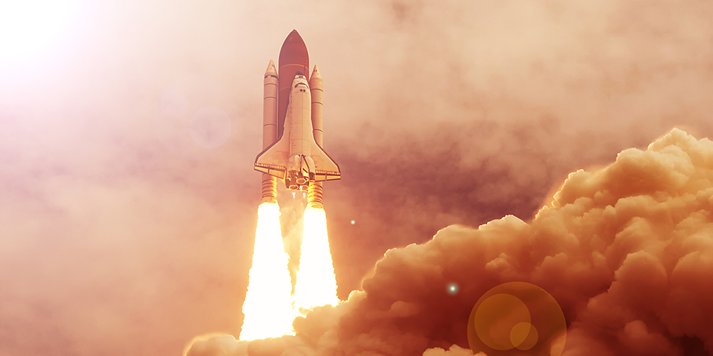 Rocket liftoff. The elements of this image furnished by NASA. - play video